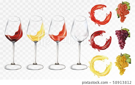 Collection wine grapes. 3D realistic fruits with fruit splashes. Grapes white,red,rose. Icon set 58913812