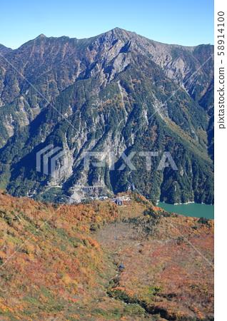 Kurobedaira, Lake Kurobe and Ropeway seen from Daikanmine station observatory 58914100