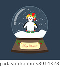 Penguin in christmas costume in snowball 58914328