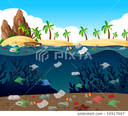 Water pollution with plastic bags in ocean 58917667