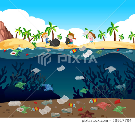 Water pollution with plastic bags in ocean 58917704