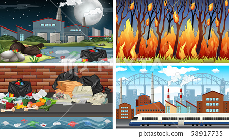 Set of polluted scenes 58917735