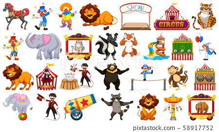 Circus set with animals rides and clowns on 58917752