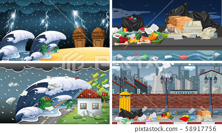 Set of polluted scenes 58917756