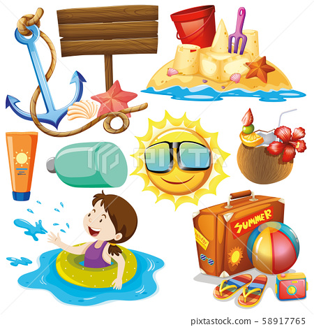 Set of isolated objects theme summer holiday 58917765