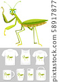Graphic of grasshopper on different product 58917877