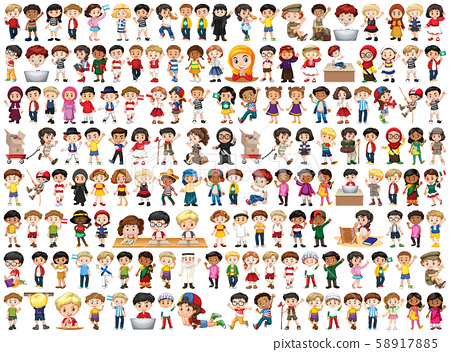 Children with different nationalities on white 58917885