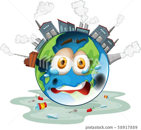 Global warming poster with factory on earth 58917889