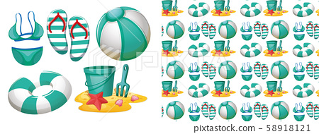Seamless background design with beach toys 58918121