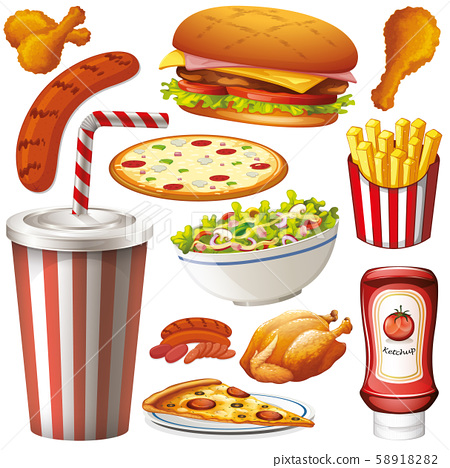 Set of isolated objects theme fastfood 58918282