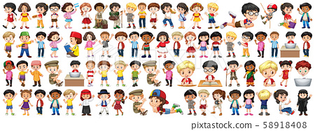 Children with different nationalities on white 58918408