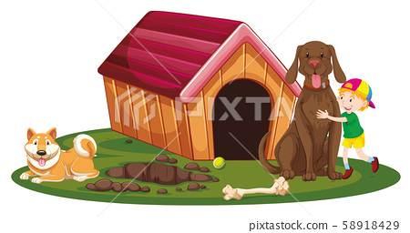 Boy and two dogs by the doghouse 58918429