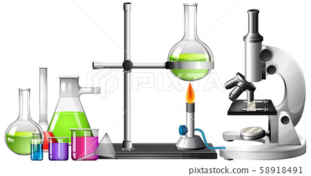 Set of science equipments on white background 58918491