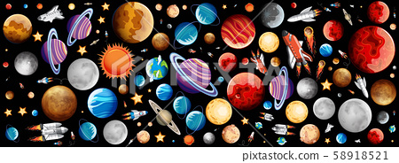 Background design with many planets in space 58918521