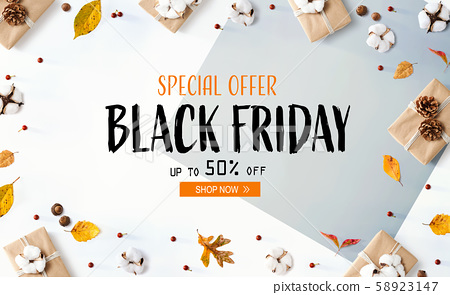 Black Friday banner with gift boxes with leaves 58923147