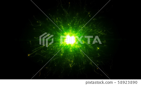 Green futuristic space particles in bright round energy structure 58923890