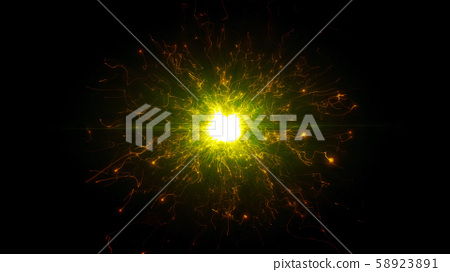 Gold futuristic space particles in bright round energy structure 58923891