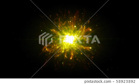 Gold futuristic space particles in bright round energy structure 58923892