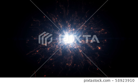Red futuristic space particles in bright round energy structure 58923910