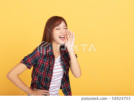 Portrait of  beautiful  smiling young asian woman 58924755