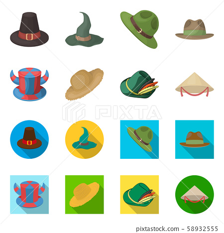 Vector illustration of hat and cap icon. Set of hat and model stock vector illustration. 58932555