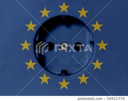 EU Electricity Concept: Power Socket With EU Flag 58932770