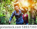 Hiking trail in the forest with friends. 58937360