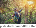 Hiking trail in the forest with friends.  58937362