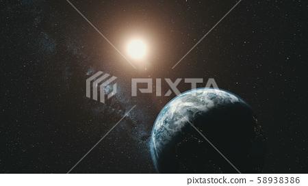 Earth orbit rotation sun beam milky way background 58938386