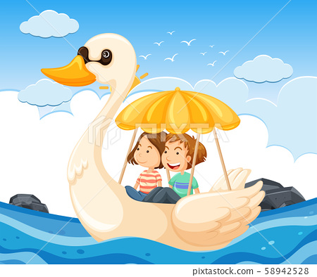 Young couple on a swan boat 58942528