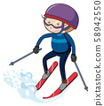 A Boy Skiing on White Background 58942550