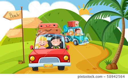 Pleople Goin on Long Weekend Trip in Mountain 58942564