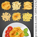 Different types of pasta and pasta dish 58942592