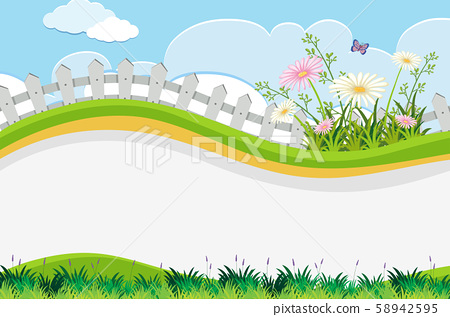 Flower Fence and Hill Template 58942595