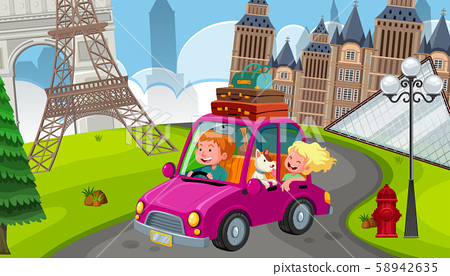 A Young Couple on Road Trip in Europe 58942635