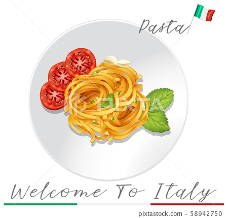 Italian Pasta on White Background 58942750