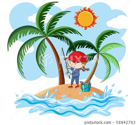 A Young Girl Fishing on Island 58942783