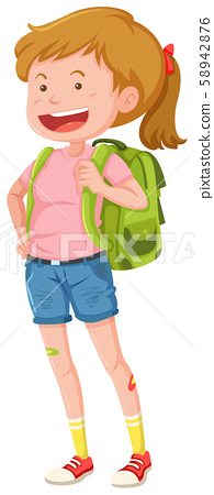 A Young Backpacker on White Background 58942876