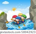 A Children Rafting in River 58942923