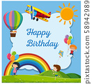 Happy Birthday Card with Happy Kids 58942989