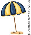 Beach Umbrella on White Background 58942996