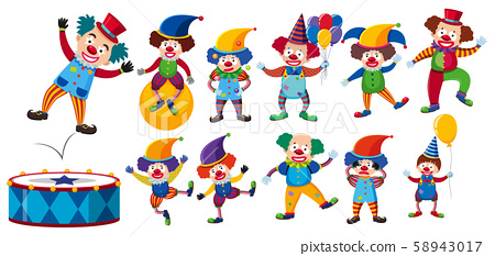 A Set of Clown on White Background 58943017