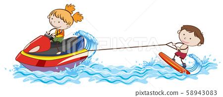 Doodle Kids Wakeboarding at the Ocean 58943083