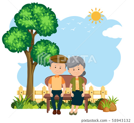 Elderly couple sitting on a bench 58943132