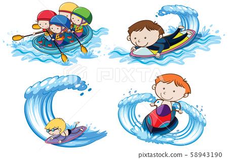 Doodle Kids with Water Sport Activities 58943190