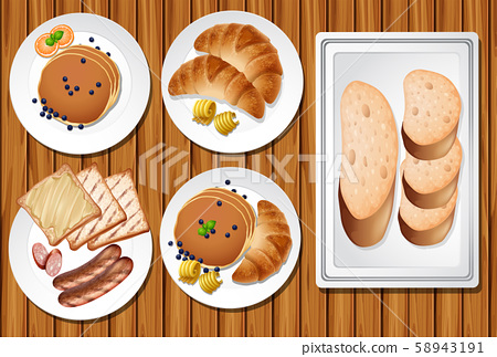 A Set of Breakfast on Wooden Table 58943191