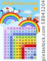 Multiplication square poster with children and 58943204