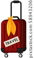 A Red Travel Luggage om Whte Background 58943206
