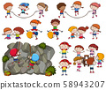 Kids and Activities on White Background 58943207