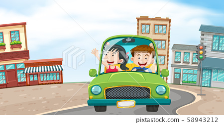 A Couple Driving in the Town 58943212